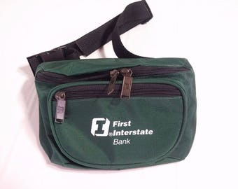 Vintage Fanny Pack  First Interstate Bank Unused Green Nylon Bank Advertising