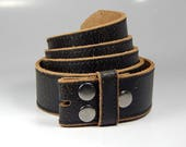 "Brown Vintage Distressed Leather Belt Strap Snap Belt Interchangeable Belt 42"" Mens Belts Womens Belt Mens Clothing Womens Clothing"