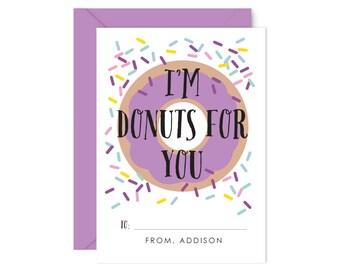 Personalized / Classroom Valentine Cards / Valentine's Day Cards / Classroom Valentine's / for kids, Girls, Cute,  Doughnut, Lavender Donut