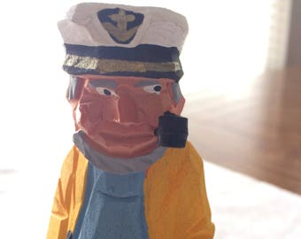 """VINTAGE 6""""Wood Carved Captain Sailor w Pipe  wood carving FIGURINE STATUE"""