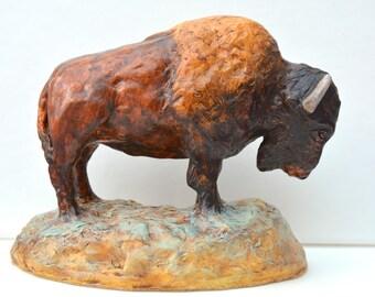 Native American Indian spirit buffalo bison ornament sculpture ancient rock art pottery southwest decor Grand Teton Yellowstone wildlife