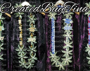 NEW ** Personalized Braided Ribbon Flower Money Lei Graduation lei using 30 one dollar bills (included in price)