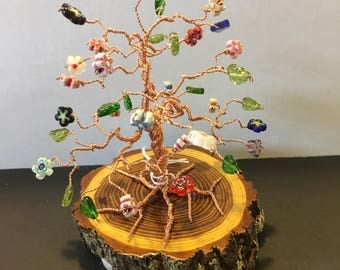 COPPER  Wire 'Bonsai'  tree with glass flower and leaf beads
