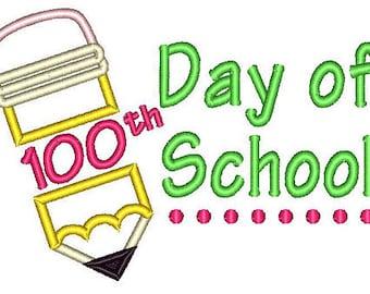 100th Day of School Pencil Applique Shirt or Onesie Boy or Girl