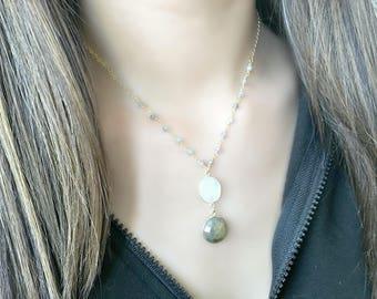 rainbow moonstone necklace with labradorite moonstone jewelry labradorite pendant labradorite jewelry moonstone pendant necklace boho chic