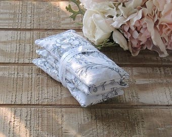 Lavender Frost Toile Lavender or Balsam Sachets Set of 3, Bridesmaid Gifts Organic Lavender, Lavender Pillows, Natural Aroma Therapy