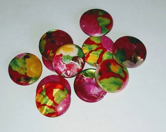 X 11 Pearl puck beads floral multicolor 20mm