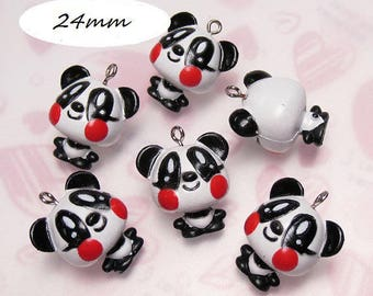 x 1 Panda kawaii red cheeks 24mm