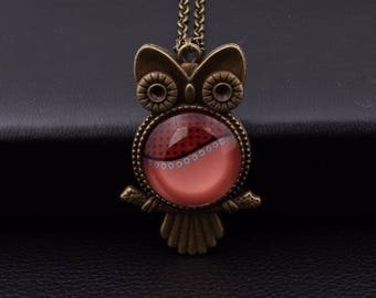 X 1 bronze OWL necklace and a red glass cabochon