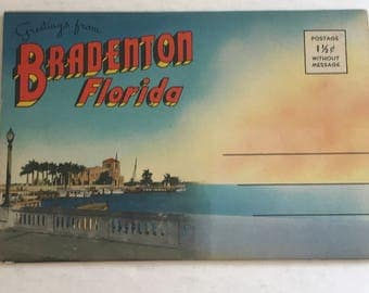 Vintage Bradenton Florida Souvenir Postcard Booklet, 18 Amazing Pictures, Detailed Summary, Postally Unused, Free Shipping