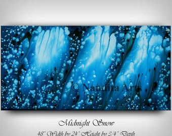 Blue Wall Art, Abstract Painting, Blue Artwork Modern Fine Art on Canvas Midnight Snow Christmas Home Decor, Gift - Nandita Albright
