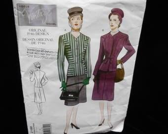 Misses Jacket Skirt Vogue 2199 Womens Size 14 Retro Reissue Hip Jacket Aline Skirt