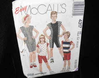 Boys Tops Shorts McCalls 4317 Girls Tops Shorts Children 10 12 14