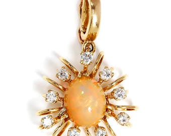 Vintage Opal Halo Pendant with Diamonds in 14kt Yellow Gold 2.38ctw