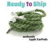 RTS Wrapped Headphones for iPhone, Handmade iPhone Headphones, Design Earbuds, Custom Headphones, iPhone EarPods Tangle Free Earbuds in SAGE