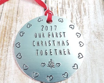 Our first Christmas Together hand stamped personalised couples Christmas ornament