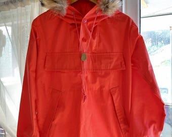 Norwegian vintage anorak, ski jacket, fur, 38
