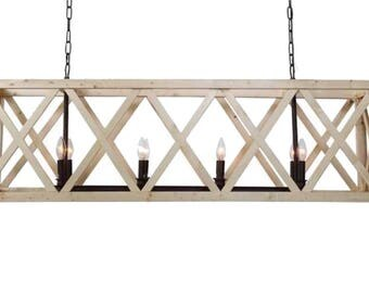 Large Wooden Criss Cross Rectangular Chandelier, American or French Country Style