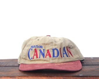 Vintage 90's Distressed Molson Canadian Beer Unstructured Snapback Hat Baseball Cap