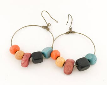 Bead Earrings, Wooden Bead Hoop Earrings.