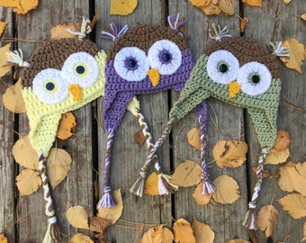 Crocheted Baby Owl Hat | 3-6 Months | Choose Your Color