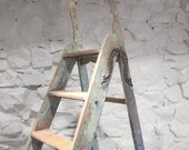 Vintage Simplex Ladders Wooden Pine Green Old Industrial Restored