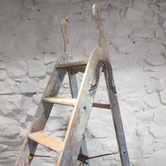 Vintage Simplex Ladders Wooden Pine Green Old Industrial Restored