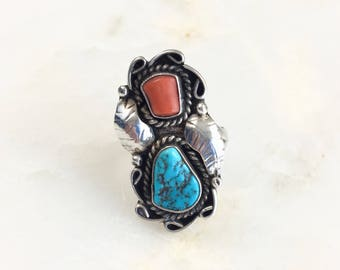 Vintage Sterling Navajo Turquoise Ring Size 7.25