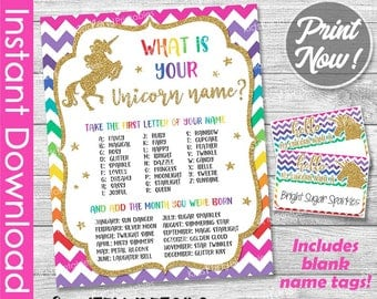 Unicorn Name Game Sign, Rainbow Unicorn Party INSTANT DOWNLOAD PRINTABLES include Name Label Tags Birthday Party Decorations Unicorn Glitter