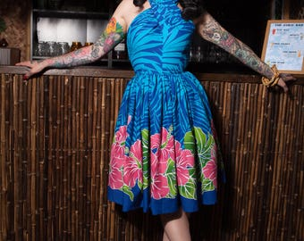 GEVA  hawaiian dress BLUE