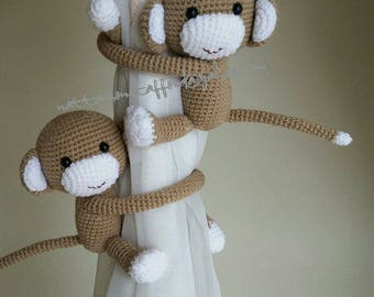 A pair of  Monkeys Curtain Tiebacks , crochet monkeys (Both side)    MADE TO ORDER..