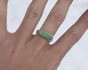 Raw Green Tourmaline  ring // size 7.5 // handmade silver jewelry // Raw crystal ring