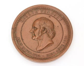 Bronze Peabody Medal, George Foster Peabody Education Medal, Antique Bronze Medal, Education Award, Antique Medal 1800s, Henry Mitchel Medal
