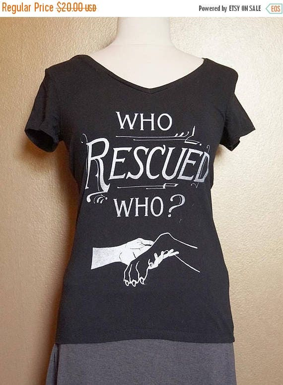 "ON SALE Size 10 ""Who Rescued Who"" Tee, White Ink on Black"