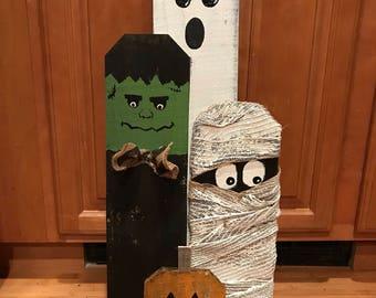 Halloween decor wood display pumpkin frankenstein ghost mummy