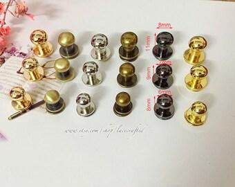 10 Sets 6mm 7mm 8mm Bronze Brushed Brass golden Silvery Gunmetal attachment screws Ball Head Screwback Studs Chicago nipple screws