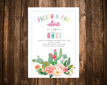 Fiesta & Fun First Birthday Invitation; Watercolor Floral; Printable or set of 10