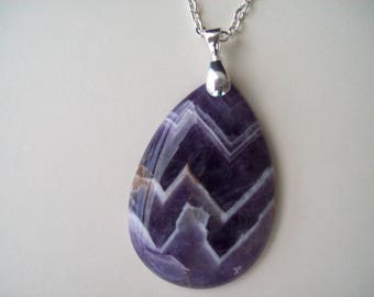 """Genuine Rough Amethyst Pendant 2"""" long with chain"""