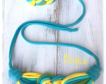 Turquoise yellow summer fabric jewelry set necklace and bracelet, babyfriendly, upcycled textile jewellery, babywearing jewellry,gift idea