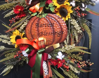 Fall Harvest Blessing Thanksgiving Wreath for Home Decor with Sunflowers and Cotton