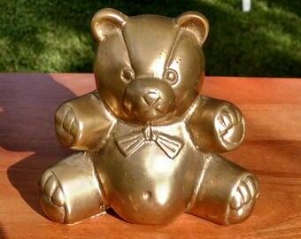 Brass Teddy Bear Figurine
