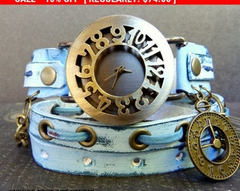 Ocean Blue Wrap Watch,  Womens leather watch, Bracelet Watch, Chain Wrist Watch, Distressed Fashion Watch with Clock charm