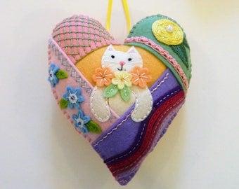 Patchwork Felt Heart Ornament, Easter Cat, Cat Ornament, Easter Decor, Spring Decor, Doorknob Hanger, Doorknob Pillow, Kitten Crazy Quilt