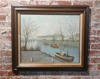 Paul Thomas -Romantic River Walk -Pointillism - Beautiful Oil Painting