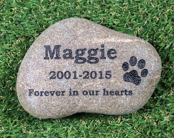 "Personalized Pet Memorial Stone 6-8"" - Pet Garden Stones - Engraved Pet Grave Marker - Custom Pet Stone - Pet Loss Engraved River Rock"