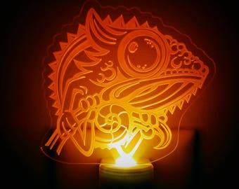 Orange Chameleon Night Light - Chameleon Engraved LED Nightlight - Lizard Nightlight - Senegal Chameleon Nightlight - Veiled Chameleon
