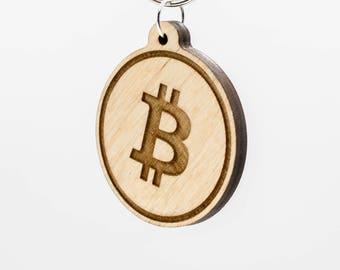 Bitcoin Symbol Keychain - Bitcoin Wooden Keychain - Bitcoin Cryptocurrency Keychain - Bitcoin Digital Currency Keychain - Bitcoin Key Ring