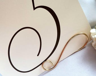 Gold Table Number Card Holders For Signs, Table Name,  Menus, Made From Solid Brass