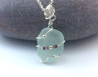 Sea Glass Bead Necklace/Silver wrapped Seaglass/Ocean Jewellery/Sea inspired Necklace/Seaglass gift/Seaglass Jewellery/Beach comber necklace