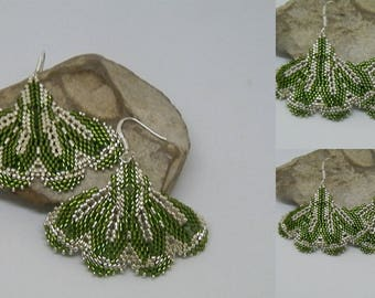 Green and silver weave earrings